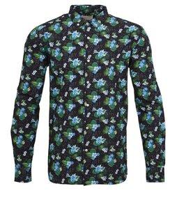 Concept Print Shirt Poplin Total Eclipse - KnowledgeCotton Apparel