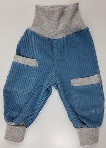 Kinder-/Baby-Mitwachshose aus hell-jeansblauem Breitcord mit Taschen  - Omilich