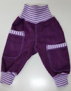 Kinder-/Baby-Mitwachshose aus violettem Breitcord mit Taschen  - Omilich