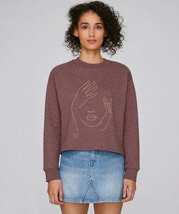Crop Sweatshirt mit Motiv/ Face - Kultgut