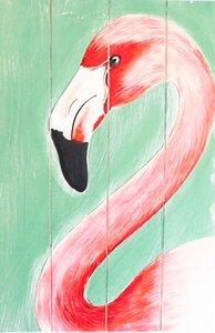 Gemälde Flamingo auf recyceltem Holz  - fairanda