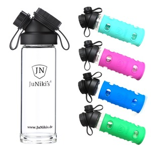 Set: JuNiki´s Glasflasche 550ml + 2 Silikonhüllen Blau + Grün oder Lila + Türkis - JN JuNiki's