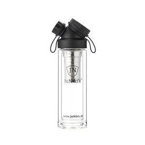 JuNiki's doppelwandige Glasflasche aus Borosilikatglas 320ml/11oz mit 2-teiligem Teesieb – umweltbewusst, BPA-frei - JN JuNiki's