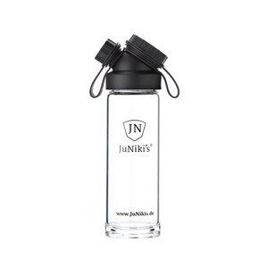 JuNiki's Glasflasche aus Borosilikatglas 550ml/18oz – umweltbewusst, BPA-frei, auch für Kohlensäure geeignet - JN JuNiki's