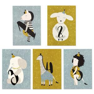 Postkarte Kindergeburtstag 1, 2, 3, 4 oder 5 - ava&yves