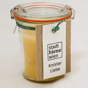 Knisterkerze mit Bienenwachs im Rex-Glas - Stadtbiene Wien