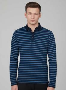 Langarm Poloshirt aus Bio Baumwolle in Ringel Qualitaet und Knopfleiste - ORGANICATION