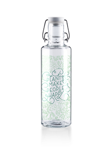 soulbottle 0,6l • Trinkflasche aus Glas • 'plants make people happy'  - soulbottles