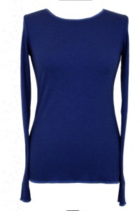 Langarmshirt, royalblau-schwarz geringelt und mit Kontrastbündchen - Jalfe