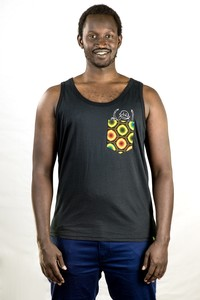 "Tank Top ""Taschen-Affe"". Handmade in Tanzania. - Kipepeo-Clothing"