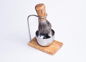 Rasierpinselhalter DESIGN PLUS inkl. Tiegel aus Edelstahl glänzend - Olivenholz erleben