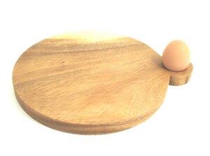Frühstücksbrett mit Eierhalter / Steakbrett mit Saucenbehälter - fairanda
