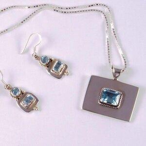 Silber-Schmuckset BLUE & CLEAR Fairtrade - SANYALA