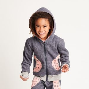 "Kapuzenjacke ""Sweat India Ink/Familie Eule Pink"" - Cheeky Apple"