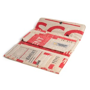 Damen-Portemonnaie (zweifach gefaltet)  aus Zementsack  - Upcycling Deluxe