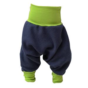 Yogahose Sarouelhose Pumphose Wolle navy/hellgrün, navy/dunkelgrün - liebewicht