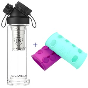 Set: JuNiki´s Glasflasche 320ml inkl. Teesieb 2-tlg. + 2 Silikonhüllen - JN JuNiki's
