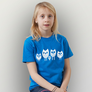 '5 kleine Eulen' Kinder T-Shirt  - shop handgedruckt