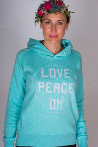 Yoga Hoodie LOVE PEACE OM & Blume des Lebens - YogiCompany