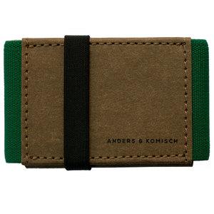 Kleines Portemonnaie Mini Geldbeutel Geldbörse A&K MINI braun-grün - ANDERS & KOMISCH