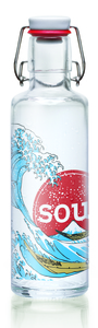 soulbottle 0,6l 'Great Wave of Kanagwa' Trinkflasche aus Glas - soulbottles