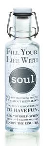 soulbottle 0,6l  'Fill your Life soul' Trinkflasche aus Glas - soulbottles