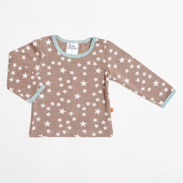 """Langarm Shirt """"Stars Taupe"""" Aus 95% Bio-baumwolle, 5% Elasthan"""