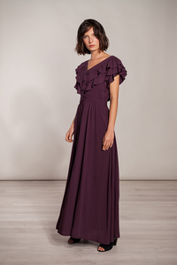 Abendkleid lang - Festkleid kurzarm mit Rüschen Viskose weinrot bordeaux - SinWeaver alternative fashion