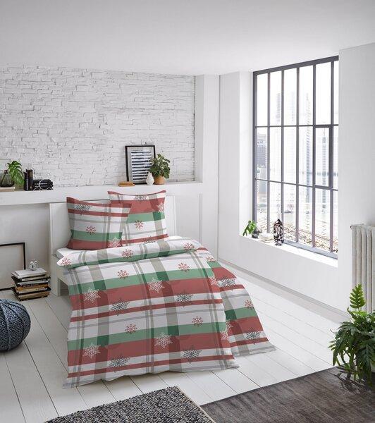 w lfing gmbh dormisette biber bettw sche schneeflocken rot gr n winterdessin winterclassics. Black Bedroom Furniture Sets. Home Design Ideas
