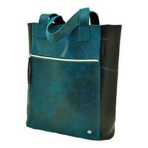 Bogota Shopper aus recyceltem LKW Schlauch und Öko Rindsleder - blau - MoreThanHip