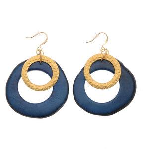 Celeste-Ohrringe mit Tagua-Anhänger und Goldring - MoreThanHip-Joyas