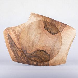 Große Flügelschale aus Nussbaumholz - handgefertigtes Einzelstück - Lajos Varga