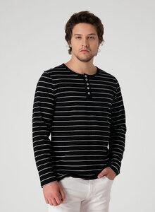 Gestreiftes Henley Langarmshirt aus Bio Baumwolle mit Knopfleiste - ORGANICATION