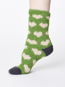 Fluffy Heart Recycled Sock - Olive - Thought | Braintree