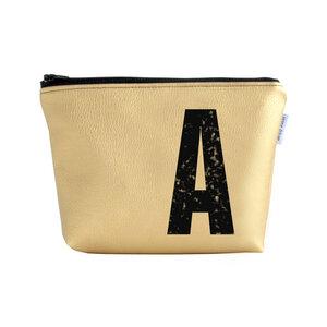 Kulturtasche und Kosmetiktasche personalisiert mit Monogramm GOLD - renna deluxe