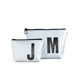 Kulturtasche und Kosmetiktasche personalisiert mit Monogramm SILBER - renna deluxe