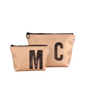 Kulturtasche und Kosmetiktasche personalisiert mit Monogramm - KUPFER - renna deluxe