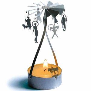 Weihnachts-Tanz, 3D Edelstahl Karusell / Teelicht Pyramide - 13gramm