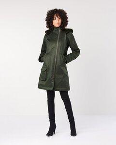 Ladies Long Coat Deep Army - Hoodlamb