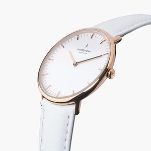 Armbanduhr NativeRoségold- Lederarmband Weiß - Nordgreen Copenhagen