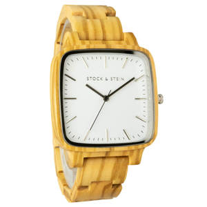 Armbanduhr, Holzuhr | Damen | Olivenholz | gravierbar eckig - Stock & Stein - Holzuhren