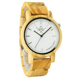 Armbanduhr, Holzuhr | Damen | Olivenholz | gravierbar rund  - Stock & Stein - Holzuhren