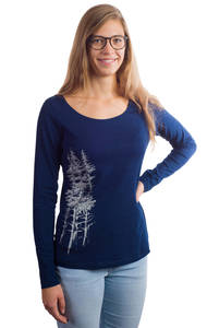 Fairwear Organic Longsleeve Women Denim Blue Fichtenwald - Life-Tree