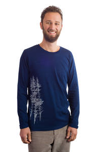 Fairwear Organic Longsleeve Men Denim Blue Fichtenwald - Life-Tree