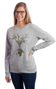 """Sweater aus Biobaumwolle Fairwear für Damen """"Weltenbaum"""" in Heather Grey - Life-Tree"""