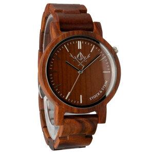 Armbanduhr, Holzuhr | Damen | Rosenholz | gravierbar rund  - Stock & Stein - Holzuhren