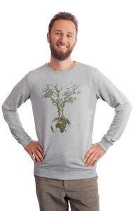 """Sweater aus Biobaumwolle Fairwear für Herren """"Weltenbaum"""" in Heather Grey - Life-Tree"""