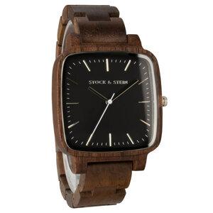 Armbanduhr, Holzuhr | Damen | Walnuss | gravierbar eckig - Stock & Stein - Holzuhren