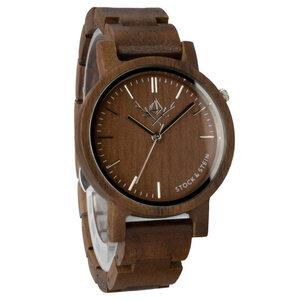 Armbanduhr, Holzuhr | Damen | Walnuss | gravierbar rund  - Stock & Stein - Holzuhren