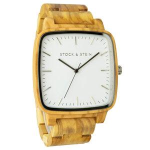 Armbanduhr, Holzuhr | Herren | Olivenholz | gravierbar eckig - Stock & Stein - Holzuhren